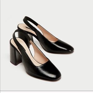 Zara black leather block slingback heel